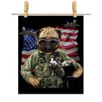 【パグ パイロット 星条旗 アメリカ いぬ 犬】ポストカード by Fox Republic