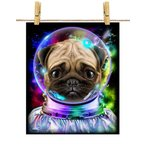 【かわいいパグ ドッグ 犬 いぬ 宇宙 飛行士 銀河系】ポストカード by Fox Republic