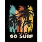 【ハワイ・ヤシの木・サーフィンに行こう】ポストカード 黒背景