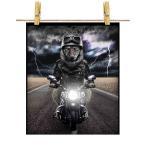 【狼 オオカミ バイク ヘルメット】ポストカード by Fox Republic