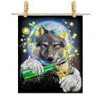 【狼 オオカミ ドリンク を飲む 宇宙飛行士】ポストカード by Fox Republic