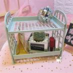 便利収納 置物棚 女の子 卓上収納ラック 可愛い ピンク少女 プチ家具装飾 2階層 収納棚 マガジン CD ラック (ブルー)