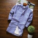ストライプシャツ メンズ 七分袖 ボタンダウンシャツ ストライプ カジュアル 白シャツ 形態安定加工 スリム 夏