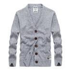 カーディガン メンズ 長袖 セーター 無地 薄手 春秋 シンプル カジュアル