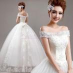新品人気 花嫁ドレス ウェディングドレス パーティードレス ホワイト 白 結婚式 大きいサイズ ブライダルドレス オフショルダー レース ロングドレス 編み上げ