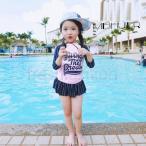 プール 水泳 ミズギ 女児水着 子供水着 みずぎ 2点セット UVカット 長袖トップス ショートパンツ ラッシュガード 女の子 セパレート 水着 キッズ温泉用