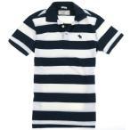 【メール便送料無料】Abercrombie & Fitch アバクロ 鹿の子 ワンポイント ポロシャツ 白紺ボーダー 291