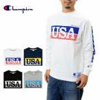 チャンピオン USAプリント長袖Tシャツ 17FW アクションスタイル チャンピオンChampion C3-L423 ロゴ ロンT ロングスリーブT