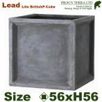 ショッピングプランター Lead Lite・LL ブリティッシュ・Pキューブ・L (ロ56cm×H56cm)(ファイバーグラス/ファイバークレイ)(底穴あり/軽量プランター)