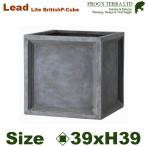 ショッピングプランター Lead Lite・LL ブリティッシュ・Pキューブ・S (ロ39cm×H39cm)(FRP/ファイバークレイ)(底穴あり/軽量プランター)