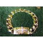 クロムハーツ  ダイヤモンド装飾 22金YG製 フローラルクロスIDブレスレット 22Yellow Gold with Diamond Floral Cross ID Bracelet