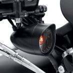 ハーレーダビッドソン Harley Davidson  ブラック ターンシグナルバイザー トリムリング/ブレット/フロント/スモークレンズ&アンバーバルブ