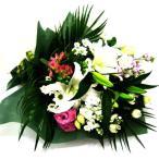 供花 白いユリと菊、ピンクのお花のお供え花束 命日 お悔やみに