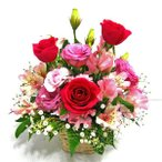 ピンクのバラとトルコキキョウのアレンジメント お見舞い フラワーギフト