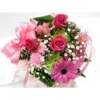 ピンクのバラとガーベラのキュートなブーケ お見舞い フラワーギフト