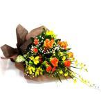 黄色いオンシジウムとオレンジのバラの花束 お見舞い フラワーギフト
