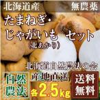 [セール] 北あかり(Sサイズ)・玉ねぎ(サイズ混合)セット 5kg(各2.5kg)(北海道自然農法の会)自然農法・無農薬いも・送料無料