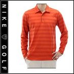Nike Golf DRI-FIT TIGER WOODS COLLECTION ロングスリーブ ボーダーポロシャツ