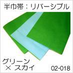 带 - 訳あり 浴衣・お稽古用の着物帯 リバーシブル半巾帯(グリーン×スカイ)02-018 浴衣帯 踊り帯
