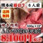 お歳暮 熊本産黒毛和牛「藤彩牛」霜降りバラ肉(カルビ)500gとモモ肉500gのセット 計1kg 焼肉用(A3)