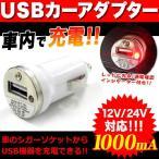 USBカーアダプター カーチャージャー 12V 24V 1000mA シガーソケット充電