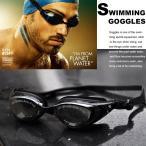 即納 度付き水泳ゴーグル 度付き水泳メガネ 度付き 近視用 近眼用 シリコンパット使用 曇り止め加工 センター間隔3種類交換可能 黒色