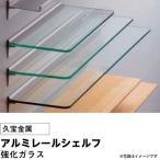 久宝金属 アルミレールシェルフ  強化ガラス W450×D140×H5 (1セット) f-ss-6121-0956 (代引不可)