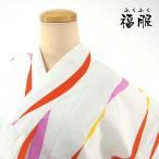 30%OFF 新品 浴衣 綿 白地によろけ縞模様の綿浴衣 Lサイズ わけあり品(神楽坂店在庫)衣装 福服 和服 リサイクル着物 福服