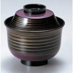 汁椀 蓋付き 3.2寸 富士型小吸椀 紫・金ライン 耐熱ABS樹脂 食器洗浄機対応 f6-217-5