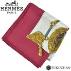 Yahoo!ブランドショップ FUKUCHAN【HERMES/エルメス】カレ90/大判スカーフ Memoire d'Hermes (エルメスの思い出) ホワイト×赤紫×マルチカラー シルク100% 【中古】