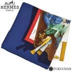 Yahoo!ブランドショップ FUKUCHAN【HERMES/エルメス】カレ90/大判スカーフ Memoire d'Hermes (エルメスの思い出) ホワイト×ネイビー×ゴールド シルク100% 【中古】≪送料無料≫