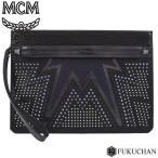 MCM エムシーエムスタッズ クラッチバッグ メンズ フラットポーチ ブラック×ブルー系×シルバー金具 中古 (送料無料)