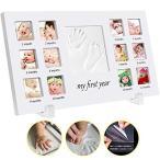 手形 赤ちゃん ベビーフォトフレーム手形 足形記念品 ハンドプリント&フットプリントフレームキット 12枚写真立て安全な非毒性粘土 木製フレーム 卓上