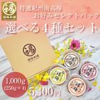紀州梅干 お好きな梅干4パックセット(はちみつ入梅干や昔ながらの梅干からお選び頂けます)南高梅干