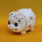 豚の貯金箱 (クリスタルぶた貯金箱(桃) k3523-317) 陶器 置物