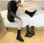 リブニットブーツ ショートブーツ ソックスブーツ pu ブーツ 秋冬 美脚 靴 レディース カジュアル 疲れない レディースシューズ ニット 歩きやすい ストレッチ