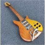 リッケンバッカー スタイル 34インチ エレキギター 木目ブラウン/イエロー [ギターのみ] メープルネック 初心者 rickenbackerタイプ