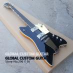 サンダーバード スタイル 41インチ エレキギター シルバー/ブラック [ギターのみ] 初心者 グレッチ タイプ