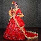 レッドドレス 豪華ロングドレス ステージ衣装としても最適 ファスナータイプ お姫様ドレス プリンセスライン 貴婦人
