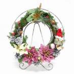 クリスマス リース 造花ミックス サンタさん 飾り インテリ 雑貨 ギフト プレゼント (お花部-Ohanabu-)