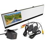 ワイヤレスキット+バックカメラ+4.3インチルームミラードライブレコーダー 3点セット 720P録画ドラレコ 防水仕様カメラ 無線キット VC100WBT100A0119N