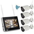7インチモニター無線防犯カメラセット 130万画素 高画質 無線NVR + WIFIカメラ4台 屋内・屋外両用 スマホ対応 遠隔監視 日本語 HDD録画 CSY714