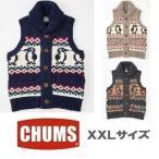 XXL CHUMS/Park City Knit Vest チャムス/パークシティニットベスト CH04-1015 メンズ カウチン チョッキ ニット XXLサイズ 大きい