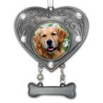 メモリアルオーナメント In Loving Memory Dog Ornament - Heart Shaped Photo Ornament with Crystals ペット 犬 写真 飾り クリスマス 遺骨