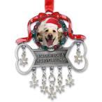 クリスマスオーナメント Dog Ornament -- Pet Photo Ornament with Dangling Sparkling Snowflakes ペット 写真 飾り クリスマス 犬