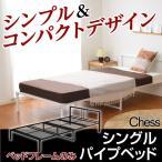シンプル&コンパクトデザインシングルパイプベッド (フレームのみ)
