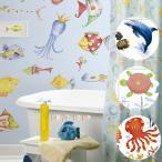 ウォールステッカー「RoomMatesルームメイツ正規品」お風呂でも使えるシール(海の生物)【壁紙 模様替え DIY シール イルカ】