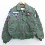 XL/古着 長袖 ナイロン ジャケット CWU-45/P 戦闘機 F-14 トムキャット 濃緑 グリーン 21feb08 中古 メンズ アウター フライト