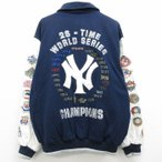 XL/古着 長袖 スタジャン 00s MLB ニューヨークヤンキース ワールドシリーズ ウール 大きいサイズ 刺繍 袖レザー 紺 ネイビー 内側キルティング メジャーリーグ