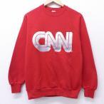 S/古着 長袖 スウェット 80s CNN テレビ局 クルーネック ラグラン 赤 レッド 【spe】 19dec17 中古 メンズ スエット トレーナー トップス